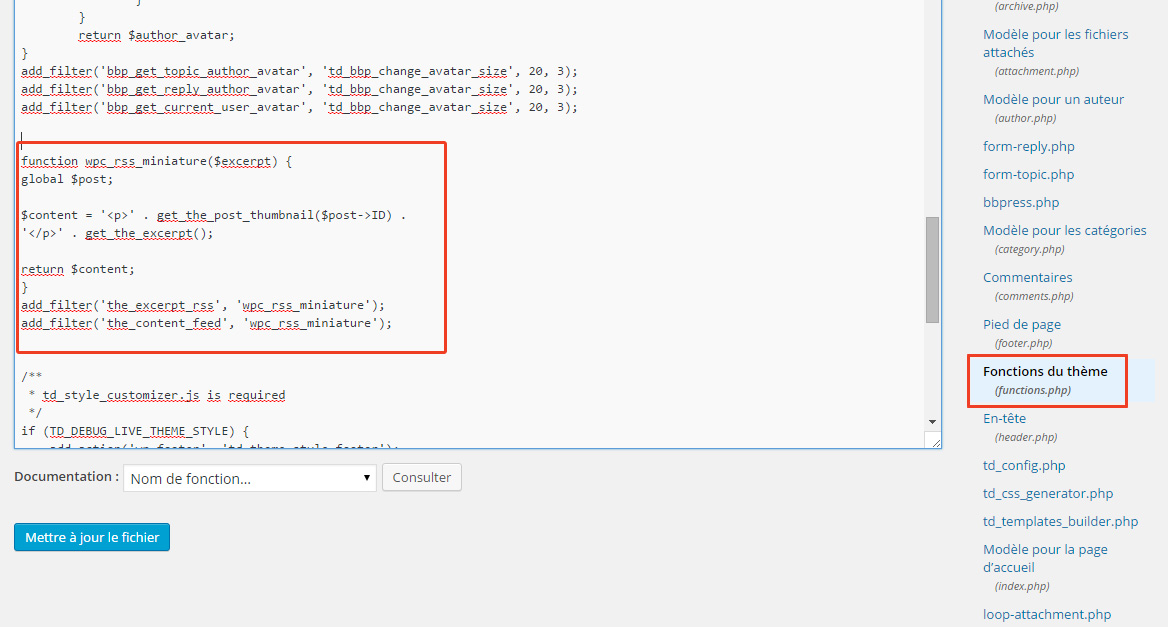 ajout code php functions wordpress