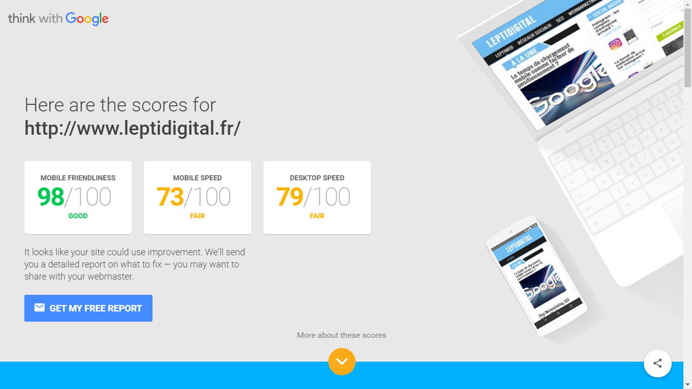 google speed test outil