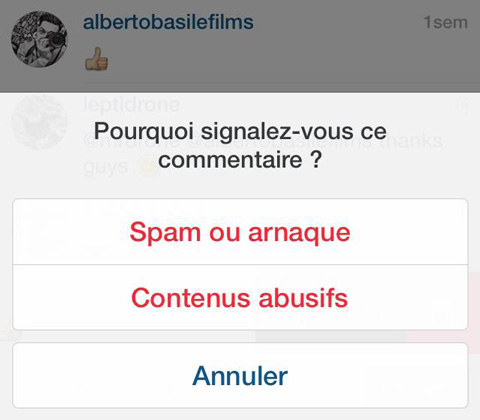 signalement commentaire instagram