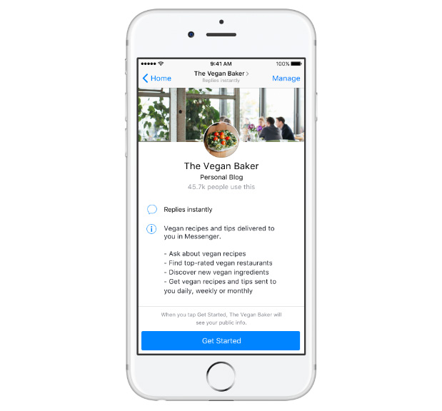 page accueil chatbot messenger