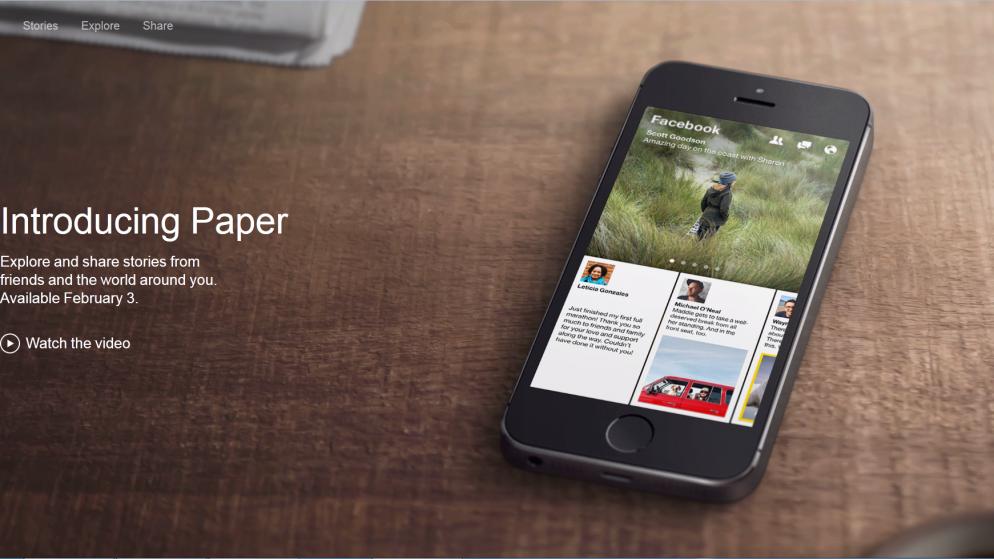 Paper, une nouvelle application Facebook