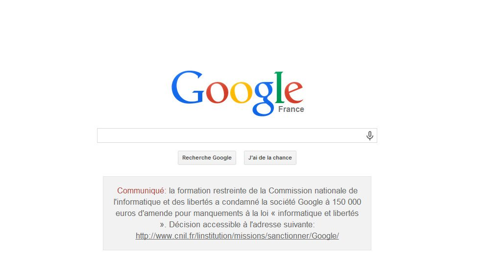 Confidentialité Google VS CNIL : 150 000 euros d'amende