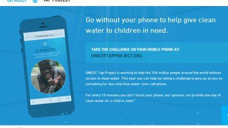 Unicef Tap Project : 1 jour d'eau pour 10 min de non-utilisation de votre Smartphone