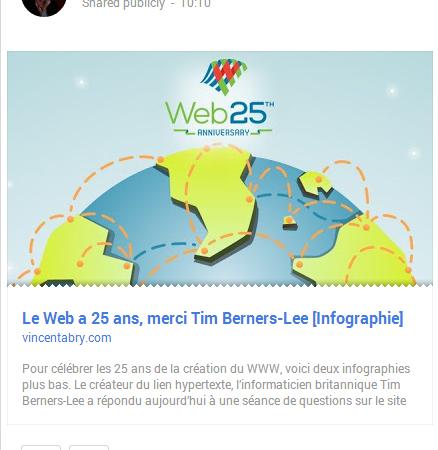 Google+ : Différente présentation des liens
