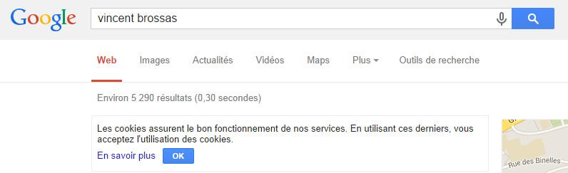 Avertissement Cookies Google
