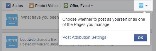 Choix auteur publication page Facebook