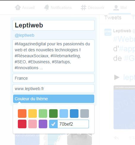Nouvelles couleurs Twitter