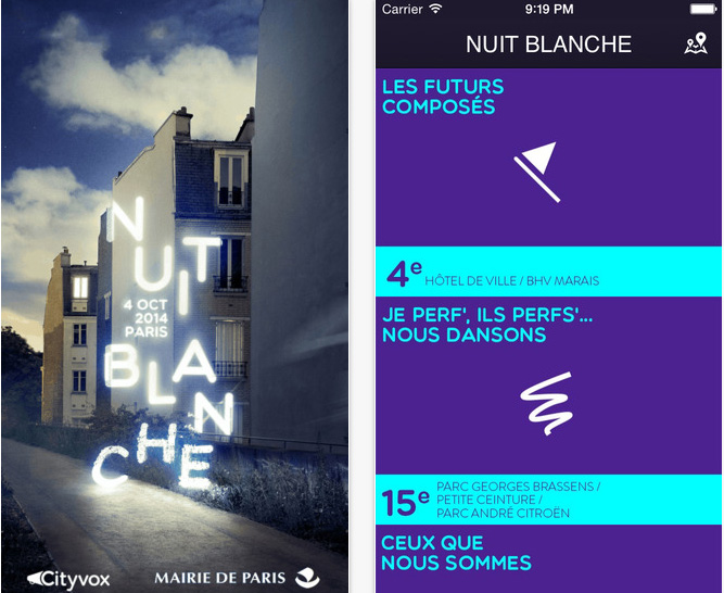 Application Nuit Blanche Paris 2014