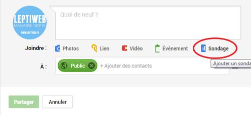 Créer sondage Google Plus