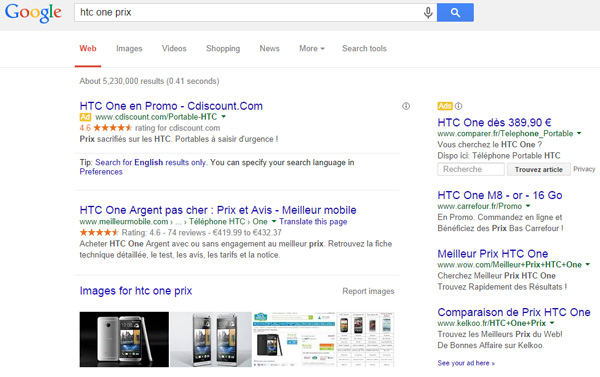 HTC One Prix A/B Testing Google