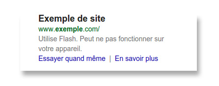 Message alerte site flash Google Mobile