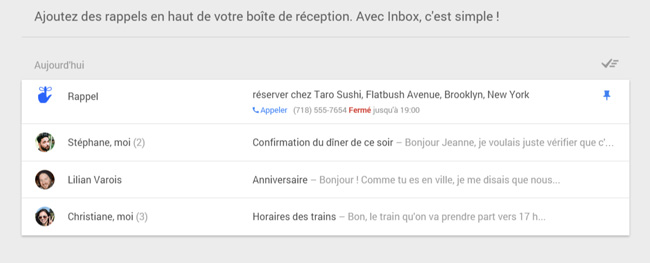 Rappels Gmail Inbox