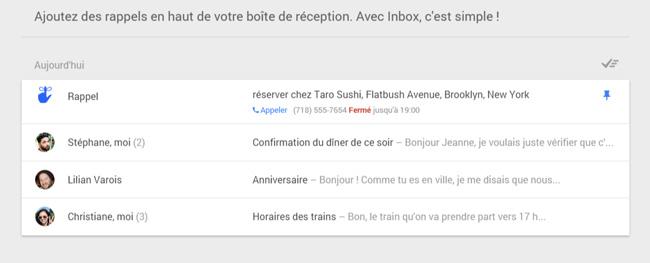 Rappels Gmail Inbox