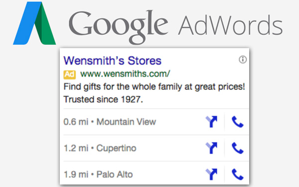 Google adwords extension lieu