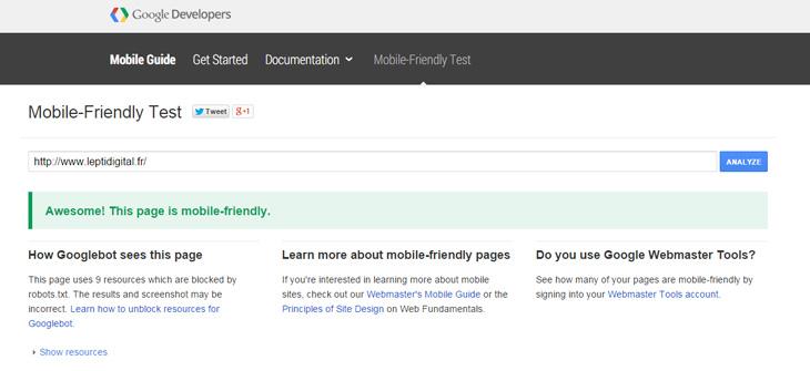Mobile friendly test google