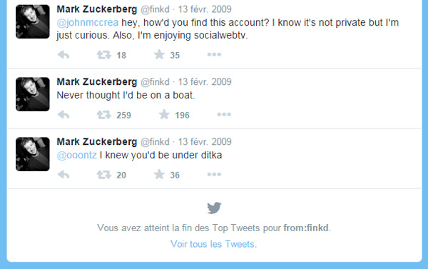 Top Tweets 2009 Mark Zuckerberg