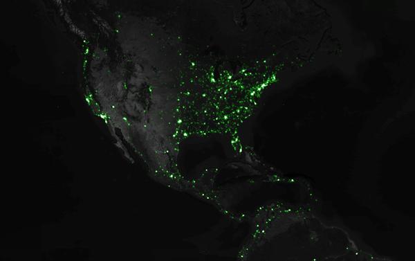 Cartographie Tweets Amérique du Nord