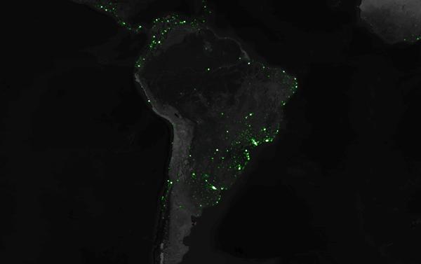Cartographie Tweets Amérique du Sud