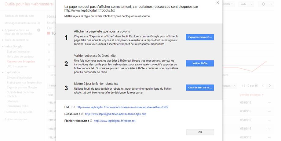 Corriger ressources bloquées Google