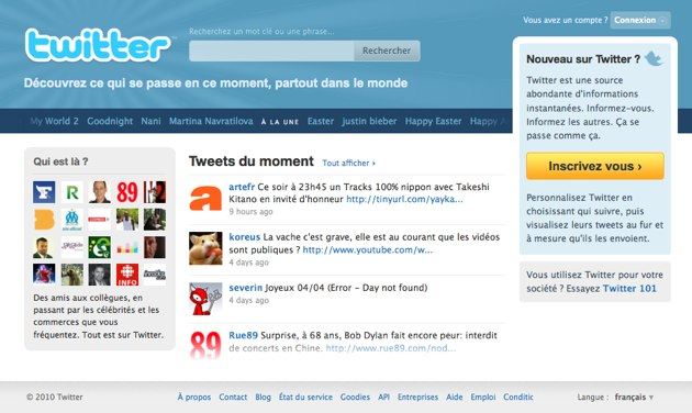 Ancienne page accueil Twitter 2010