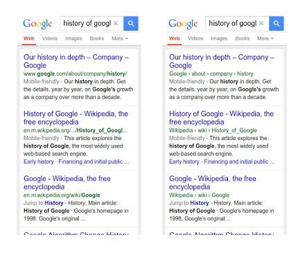 Google modification SERP mobile