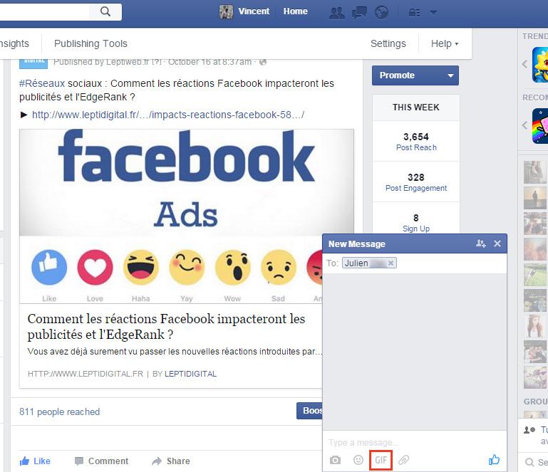 Bouton gif Facebook Messenger