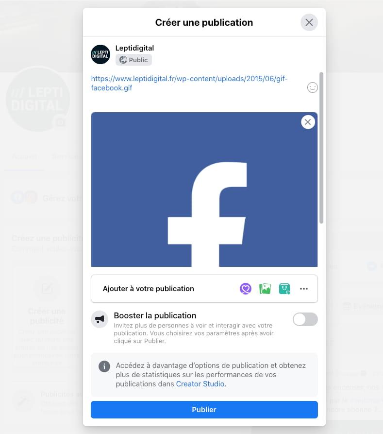 insérer gif page Facebook