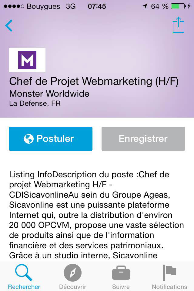 Offre emploi Linkedin Application