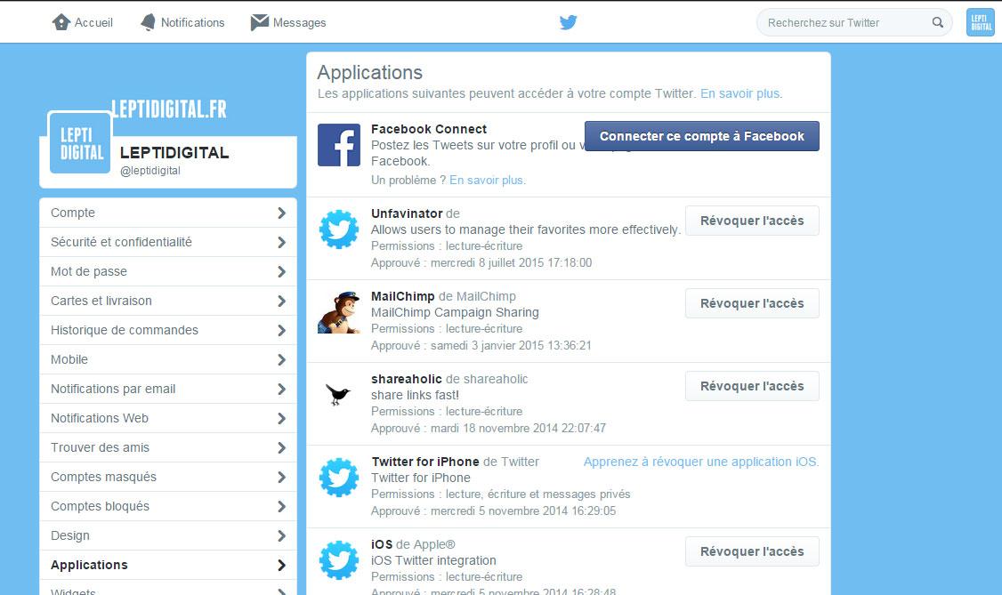 Révoquer accès application Twitter