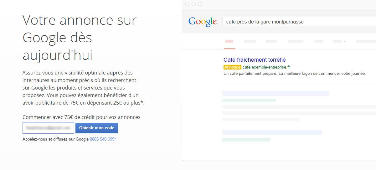 Obtenir code promo Google Adwords