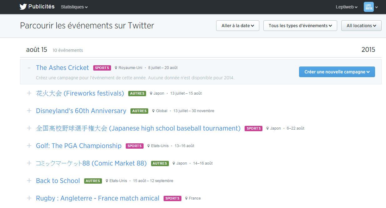 Twitter calendrier événements
