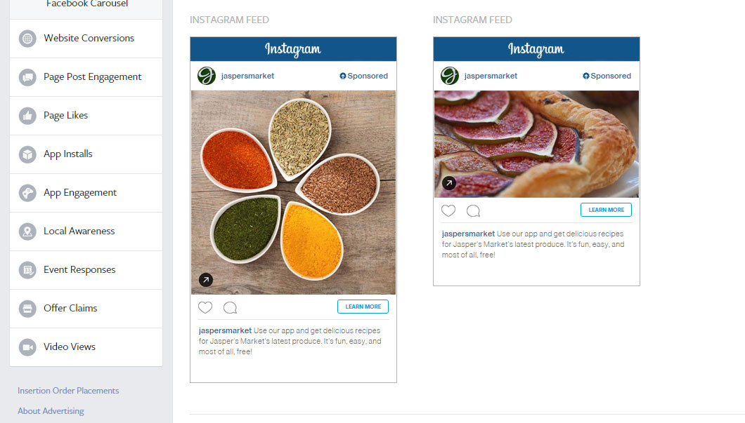 publicité instagram call to action