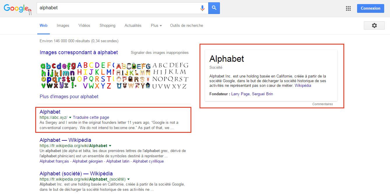 Recherche alphabet google