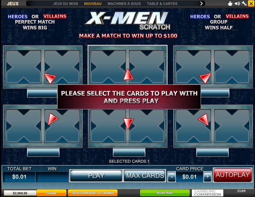 xmen jeu casino