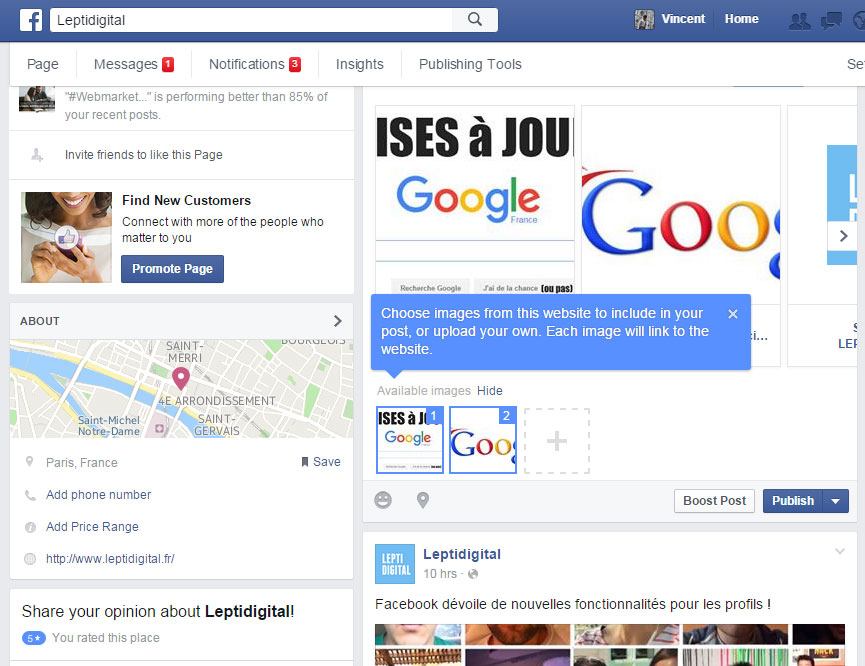 Configuration publication carrousel Facebook