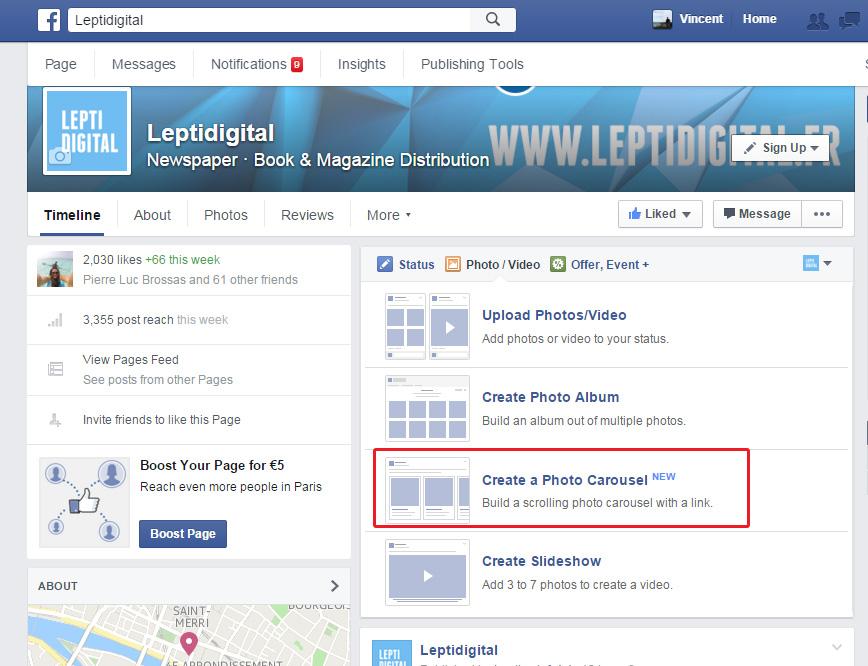 créer carrousel Facebook