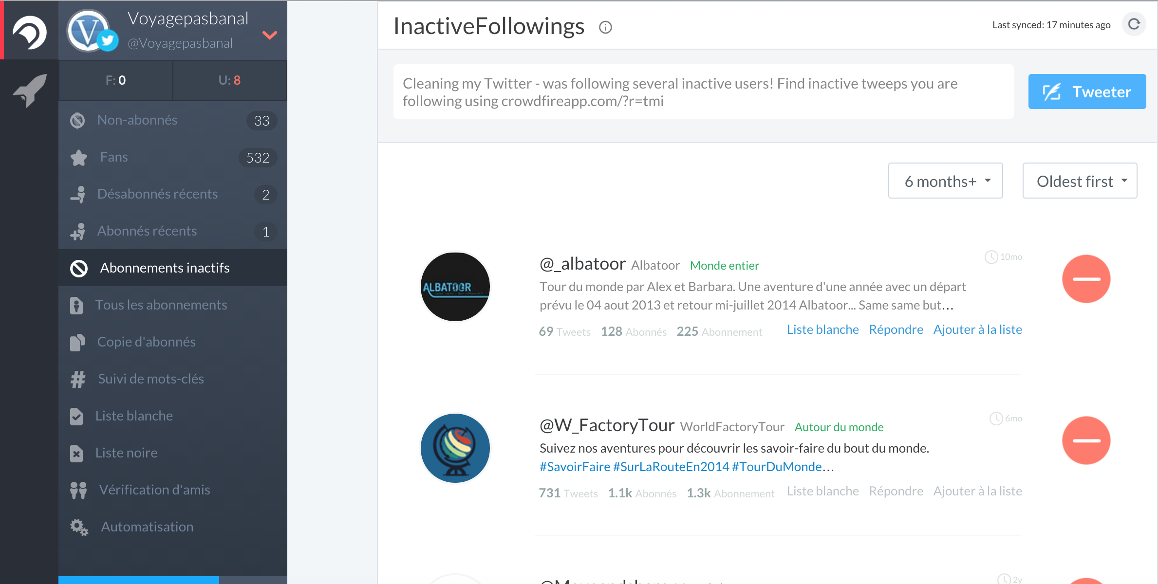 Crowdfire inactifs