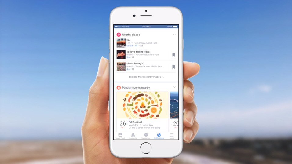 Facebook notification restaurants