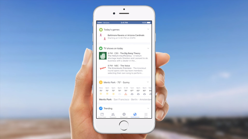 Facebook notification sport