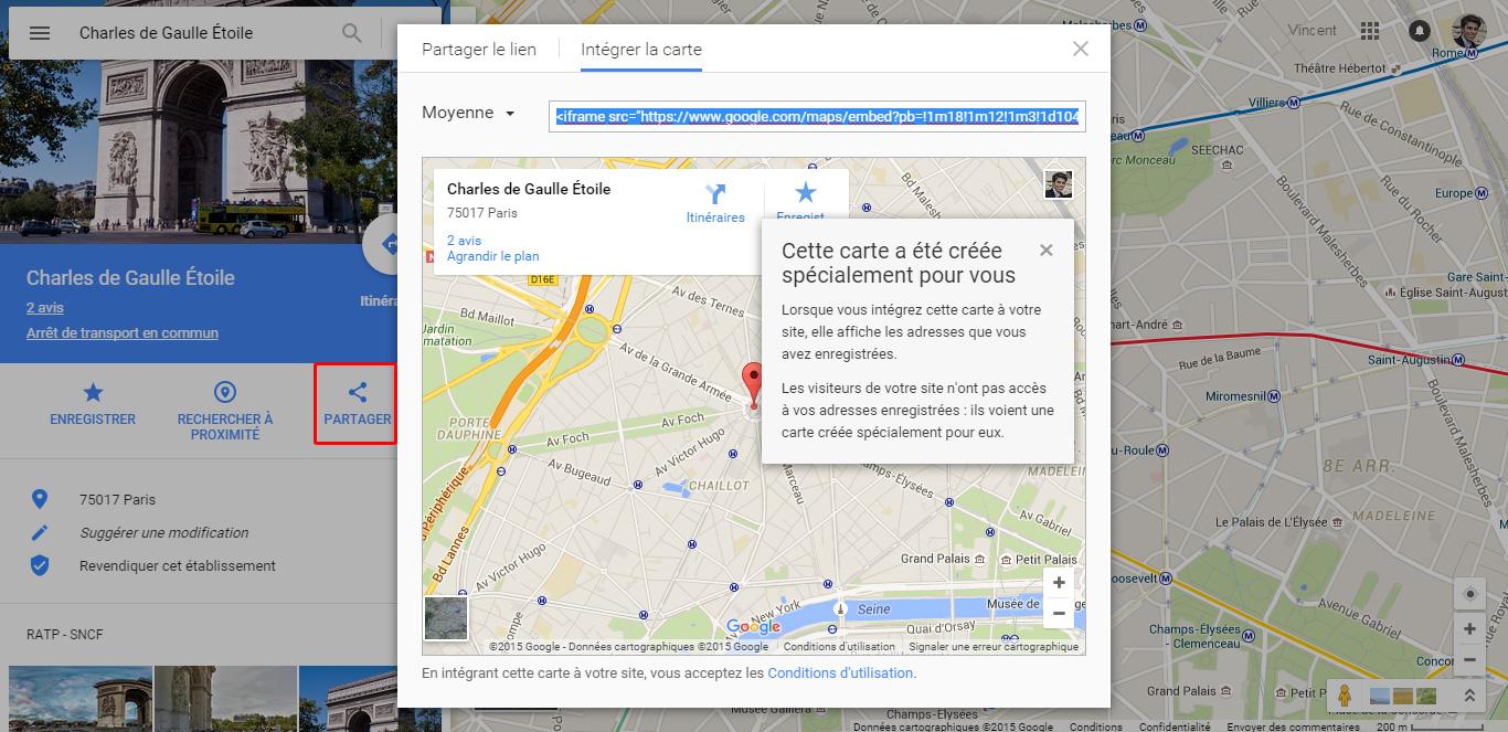 Comment insérer carte Google Maps