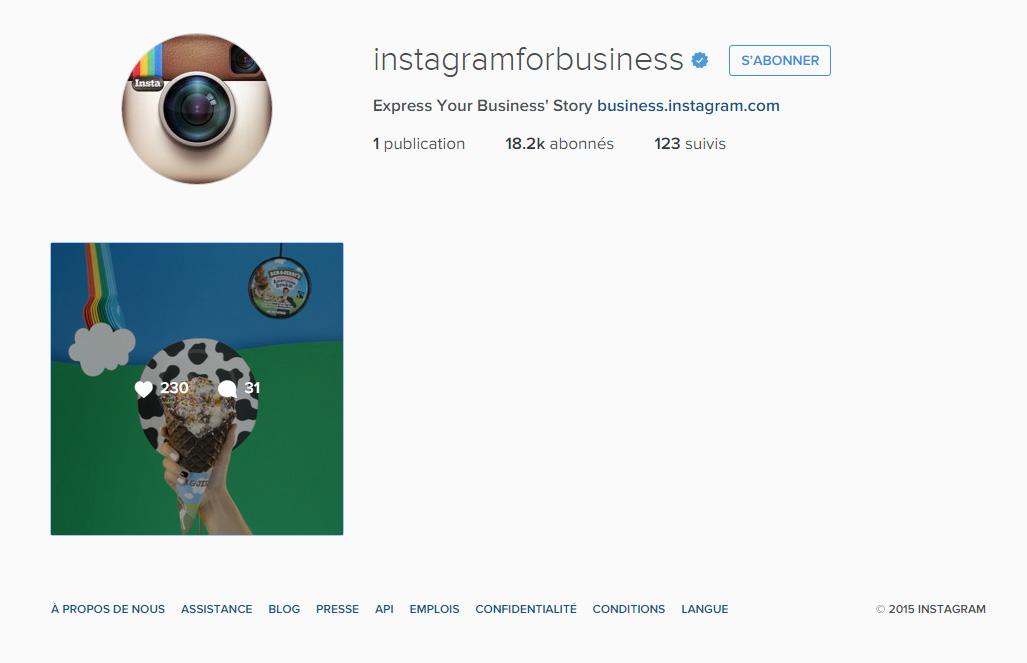 Nouveau compte Instagram Business