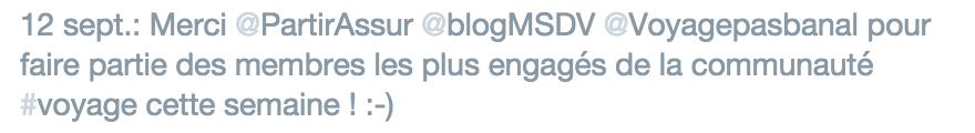 Message remerciement Twitter