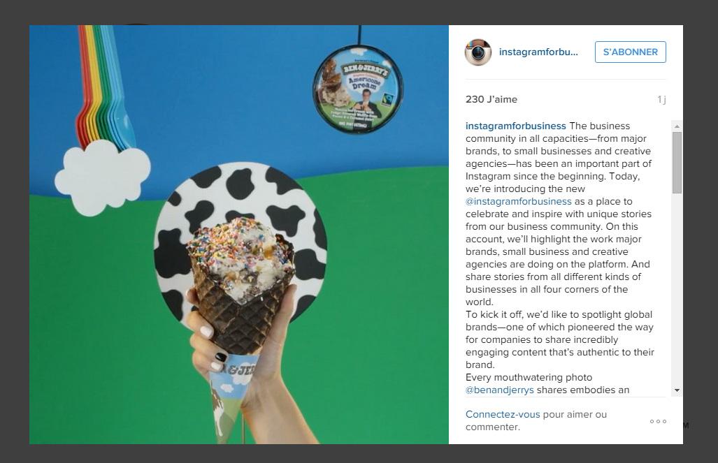 Première publication Instagram Business