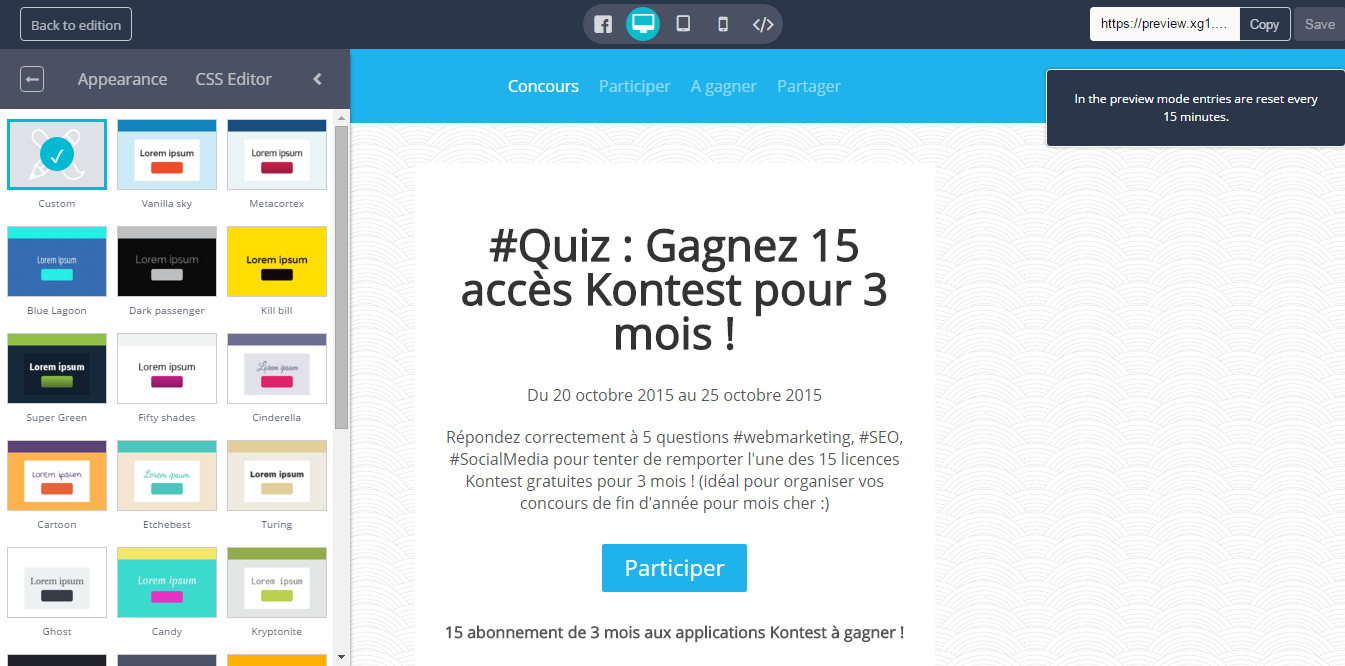 Preview concours Facebook Kontest