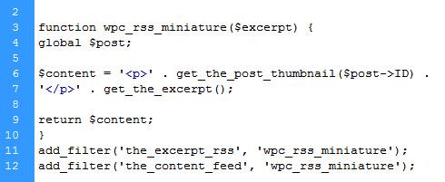 code php image rss wordpress