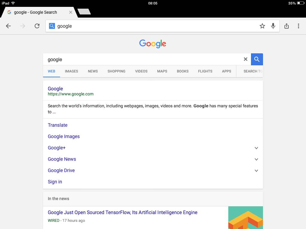 google interface ipad