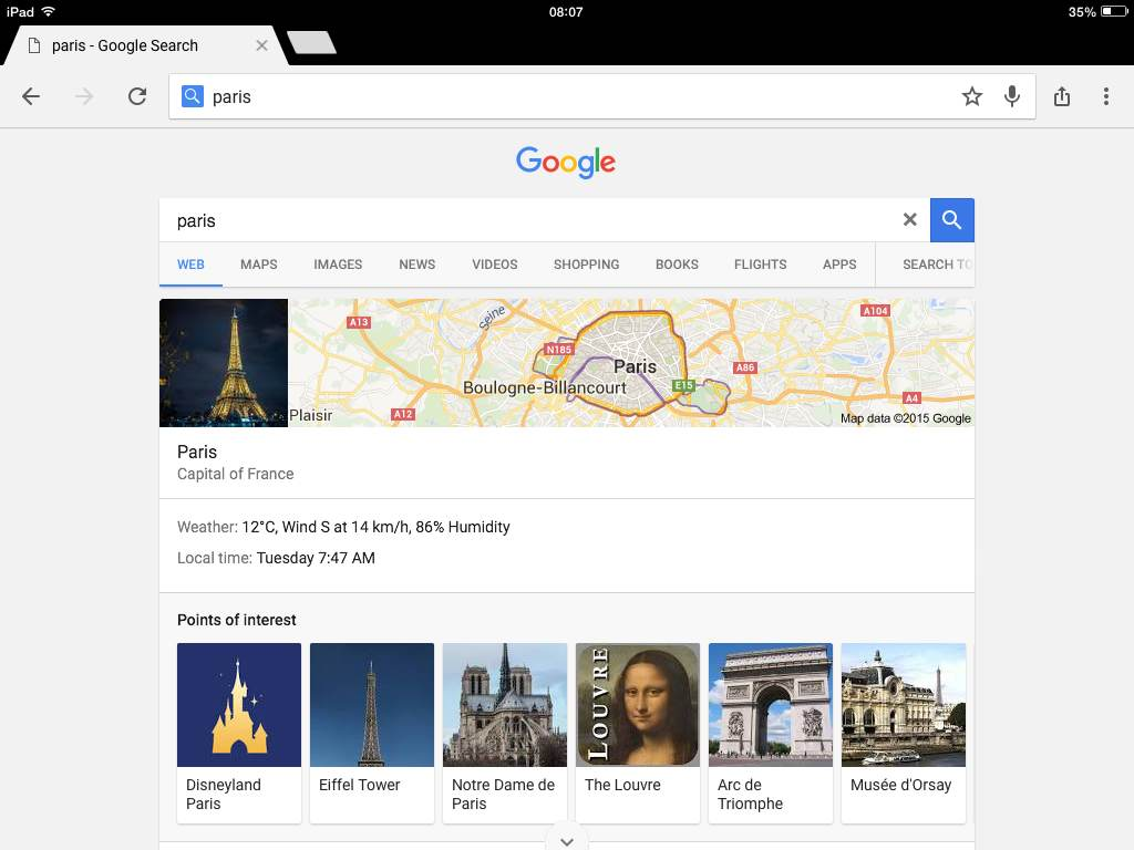 google maps paris ipad
