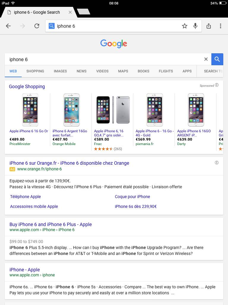 iphone 6 google shopping ipad
