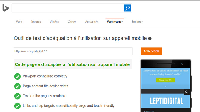 test compatibilité mobile bing