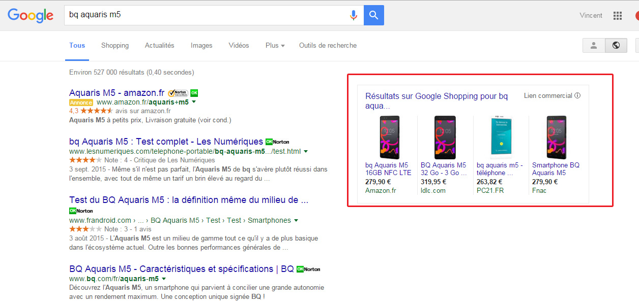 ancien google shopping